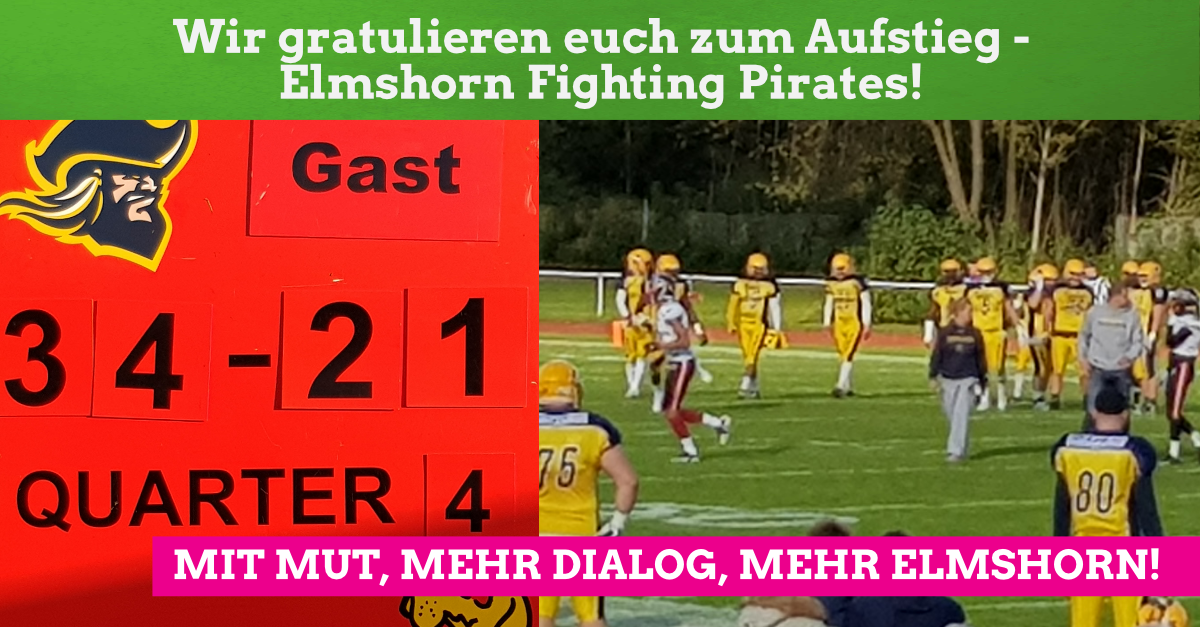 Herzlichen Glückwunsch zum Aufstieg – Elmshorn Fighting Pirates