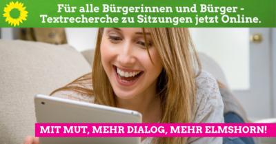 Textrecherche jetzt auf der Seite der Stadt Elmshorn möglich - Frau mit IPad